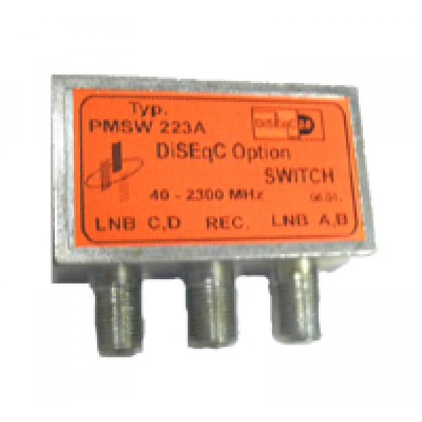 opciós diseqc kapcsoló PMSW 223 piros A-B és C-D bemenetekkel